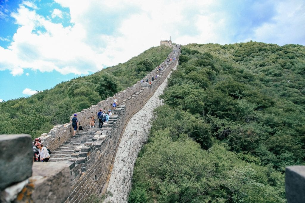 The steep incline on the Great Wall of China