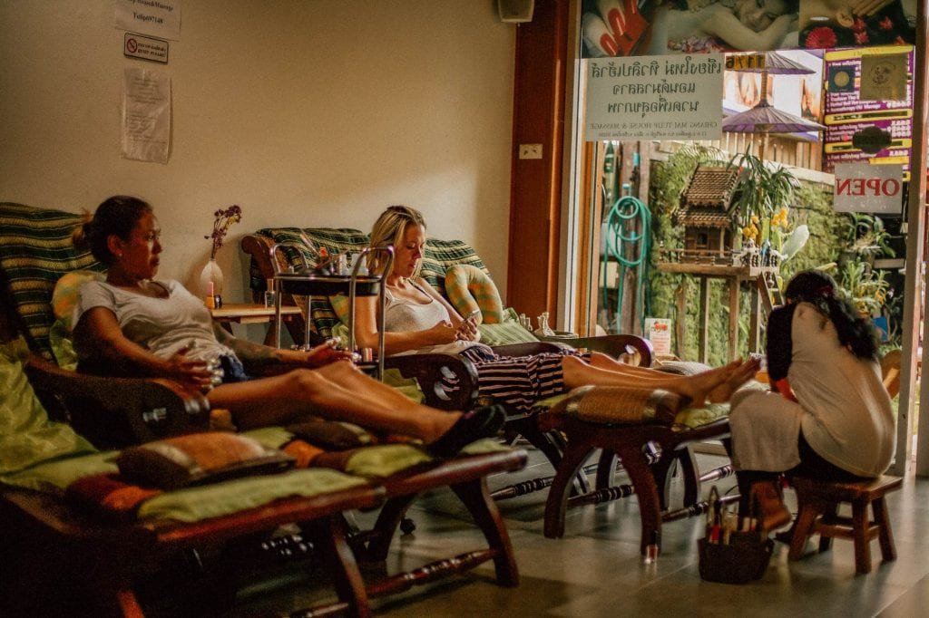 Getting a massage in Chiang Mai Thailand