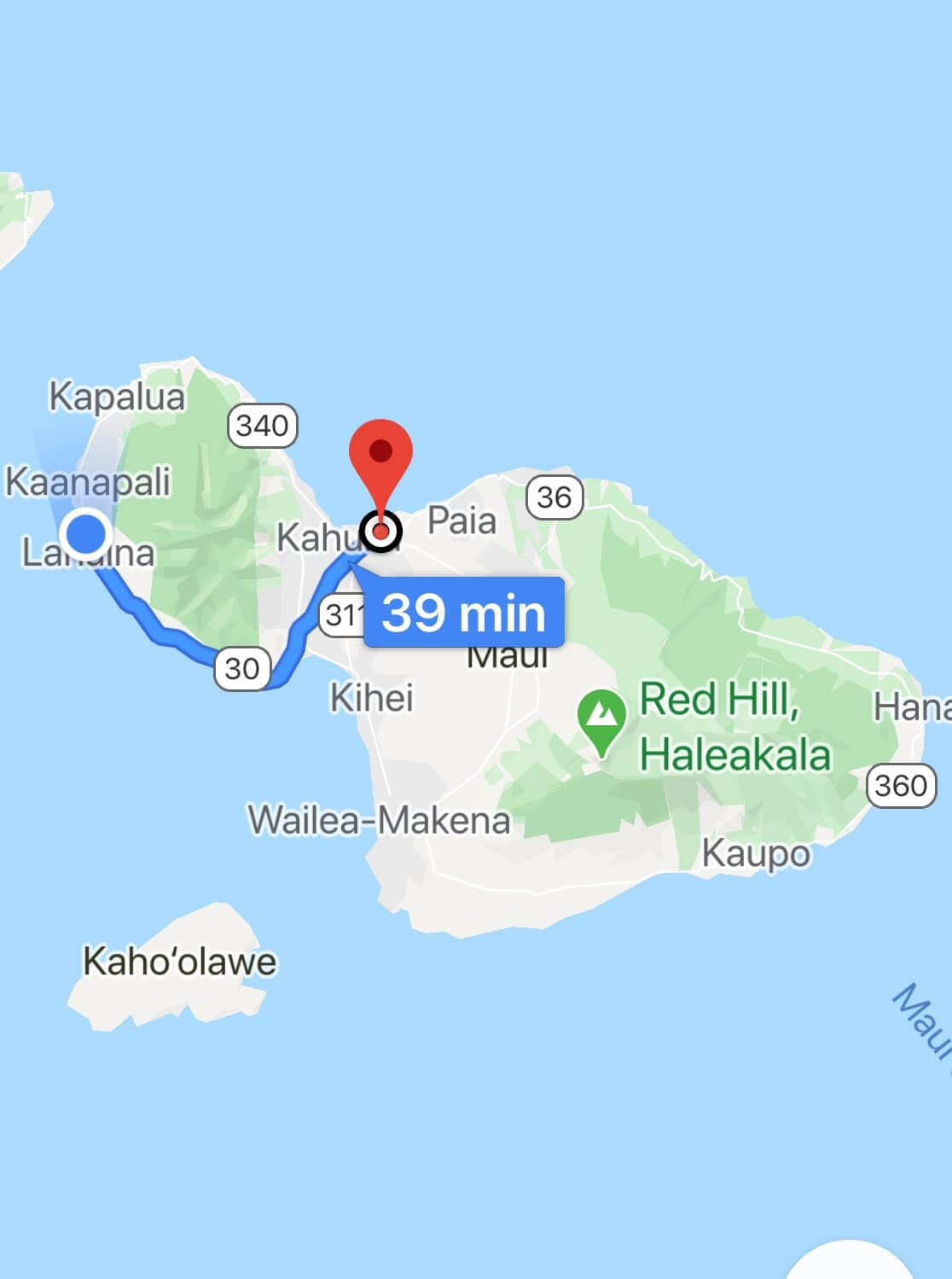 Map of Maui and directions from the airport to Lahaina